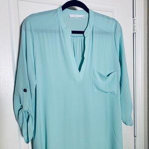 Lush light green tunic blouse